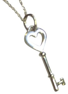 Tiffany & Co. Heart Key Pendant Necklace -shiny sterling silver