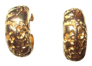 Kenneth Jay Lane Vintage 1980's Gold Nugget Clip Earrings SIGNED --Superb!