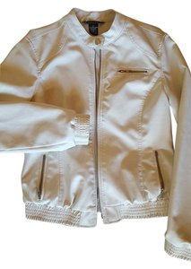 Baccini White Leather Jacket