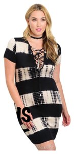 Other Plus Size Tye Dye Bodycon Lace Up Curvy Dress