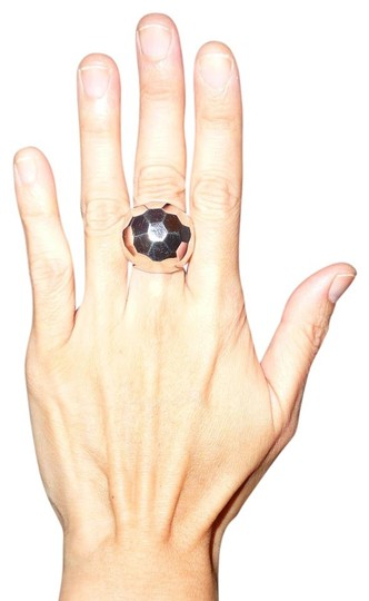 Alexis Bittar Alexis Bittar Silver-Tone Chunky Faceted Dome Ring
