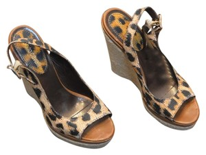 Roberto Cavalli Leopard Brown Wedges