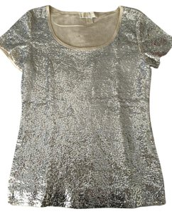 Michael Kors Sequin T-shirt Top Light Gold