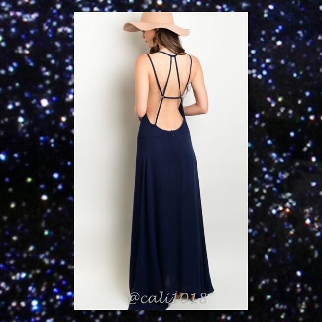 Navy Blue Maxi Dress by Other Bohemian Free People Anthropology Hippie Vintage