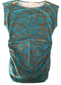 Michael Kors Graphic Sleeveless Designer Top Teal/gold