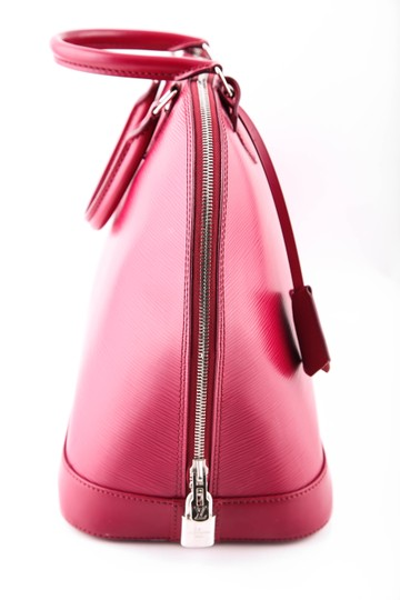 Louis Vuitton Fuchsia Leather Tote in Red
