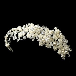 Silver Freshwater Pearl Rhinestone Side Headpiece Hair Accessory