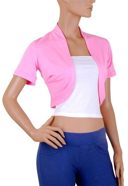 Preload https://img-static.tradesy.com/item/159380/pink-white-short-sleeve-bolero-shrug-w-tube-night-out-top-size-16-xl-plus-0x-0-0-650-650.jpg