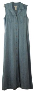 Blue Maxi Dress by Jones New York Linen Denim Button Front