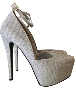 Lasonia Glitter Sparkle Pumps Hidden Stiletto Silver Platforms