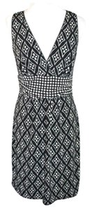 Studio M Geometric Print Career Sleeveless Midi Dress