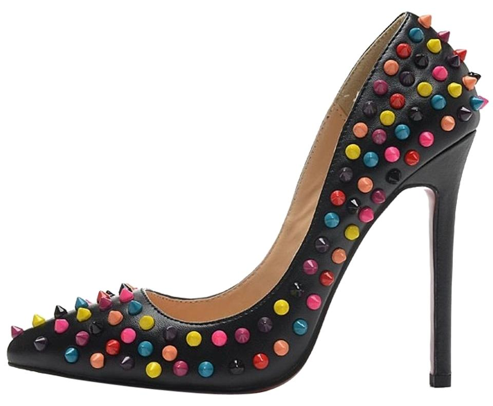 Christian Kid Louboutin Multi Color Black Pigalle Kid Christian Spike 120 Mm Pumps bd6d17