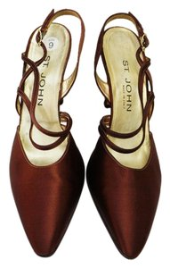 St. John Knits Satin Slingback Brown Pumps