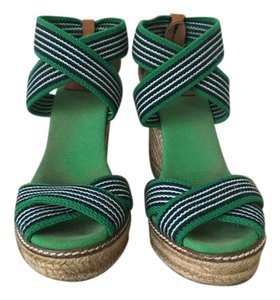 Tory Burch Green, black, and white Wedges