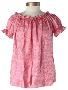 MILLY Silk Ruffle Print Top Pink