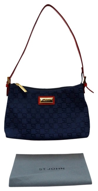Item - Knits Monogram Classic Collectable Blue/Red Canvas Shoulder Bag