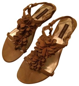 Adrienne Vittadini Brown Floral Wedge Tan Sandals