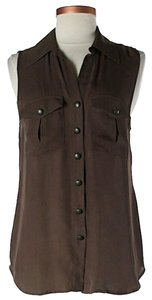 L'AGENCE Silk Hi Lo Sleeveless Top Brown