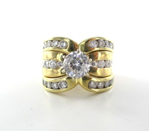 14kt Solid Yellow Gold Ring 31 Diamonds 2.51 Carat Stunning Sz 8 Wedding 12.2 Gr