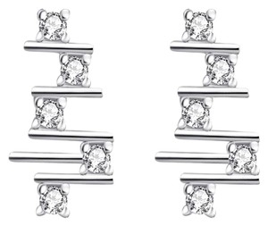 Freestyle Rhodium Plated Stud Earrings