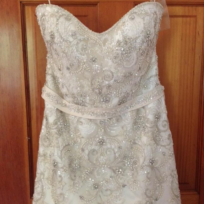 Casablanca Ivory/Champagne/Silver Tule Over Silky Japanese Organza 2166 Casual Wedding Dress Size 16 (XL, Plus 0x) Casablanca Ivory/Champagne/Silver Tule Over Silky Japanese Organza 2166 Casual Wedding Dress Size 16 (XL, Plus 0x) Image 1