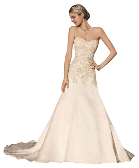 Casablanca Ivory/Champagne/Silver Tule Over Silky Japanese Organza 2166 Casual Wedding Dress Size 16 (XL, Plus 0x)