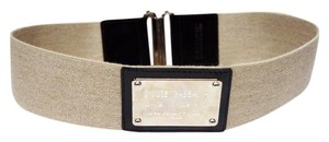 Dolce&Gabbana DOLCE & GABBANA NAMEPLATE KHAKI CANVAS BLACK LEATHER CONTRAST ELASTIC WAIST BELT