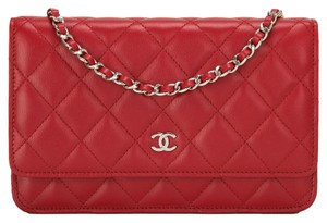 Chanel Woc Cc Red Quilted Cross Body Bag