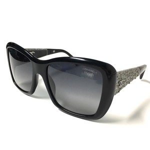 Chanel Oversized Black Silver Polarized Sunglasses with CHANEL Case