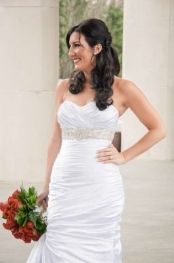 Maggie Sottero White Satin Adorae Feminine Wedding Dress Size 10 (M)