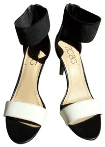 BCBG Paris Ankle Strap Patent Zipper Black and White Sandals