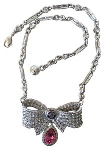 Versace Gianni Versace Platinum Plated and Pink Quartz Bow Necklace VINTAGE