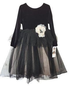 US Angels Tulle Flower Bow Dress