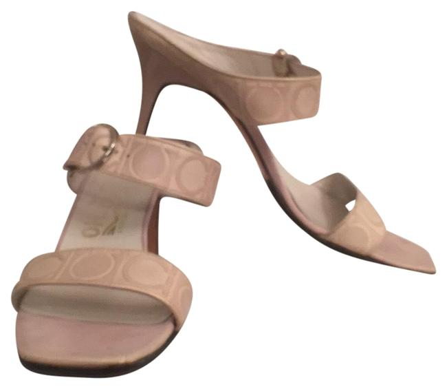 Item - Beige Blush Nude Gancini Signature Logo Embossed Leather Sandals Size US 8 Narrow (Aa, N)