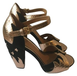 Marc by Marc Jacobs Heels Metalic Suede Gold & Black Formal