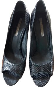 Vera Wang Peep Toe Embossed Leather Black Pumps
