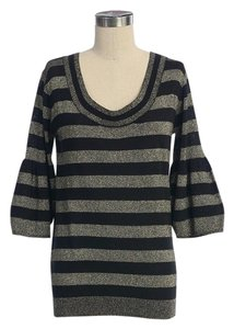 Anthropologie Striped Knit Scoop Neck Top BLACK GOLD