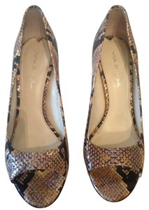 Via Spiga Open Toe Snakeskin Pumps