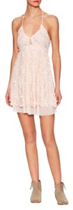 Free People short dress Pink Lace Fit Flare Slip on Tradesy