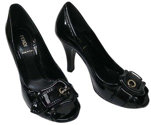 Fendi Leather Spring Buckle Summer Black Pumps