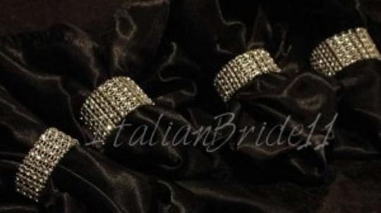 Silver 25-bling Napkin Rings + Free Diamond Scatter Reception Decoration