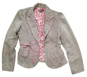 Wet Seal Ribbon Wool Blend Pink, white, black Blazer