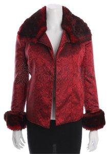 Vivienne Tam Satin Fully Lined Pads Embroidered Floral Faux Fur Red Jacket