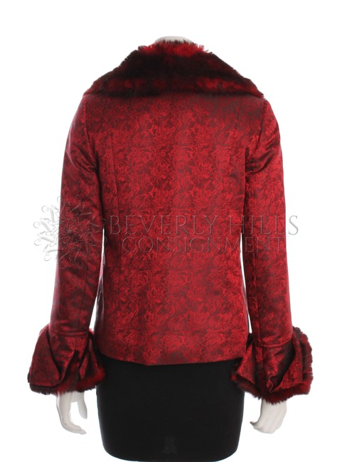 Vivienne Tam Satin Fully Lined Shoulder Pads Embroidered Floral Faux Fur Red Jacket
