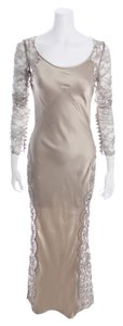 Richard Tyler Vintage Couture Satin Lace Metallic Longsleeve Silk Dress