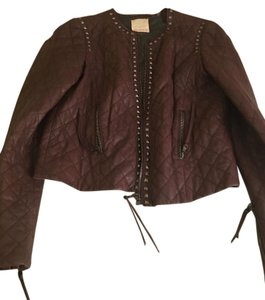 Rebecca Taylor Studded Leather Quilted Eggplant Leather Jacket