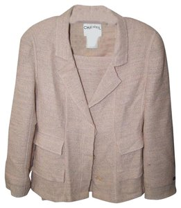 Chanel CHANEL Pink Peach Tweed Wool Blend Suit Blazer Skirt size 42