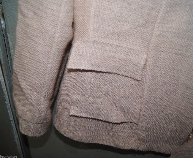 Chanel [ENTER] CHANEL Pink Peach Tweed Wool Blend Suit Blazer Skirt size 42