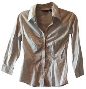 New York & Company Button Down Shirt Grey