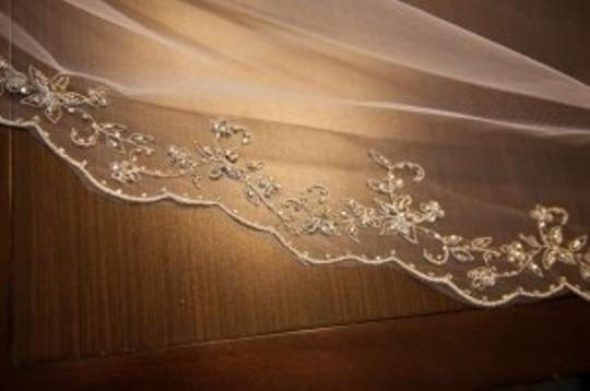 Maggie Sottero White Medium With Delicate Beading Bridal Veil